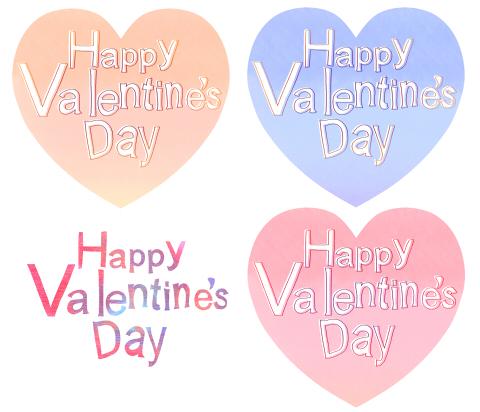 バレンタインメッセージのフリーイラスト素材 ハートマークに手描きのHappy Valentine's Day