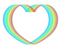 虹色ハート枠素材
