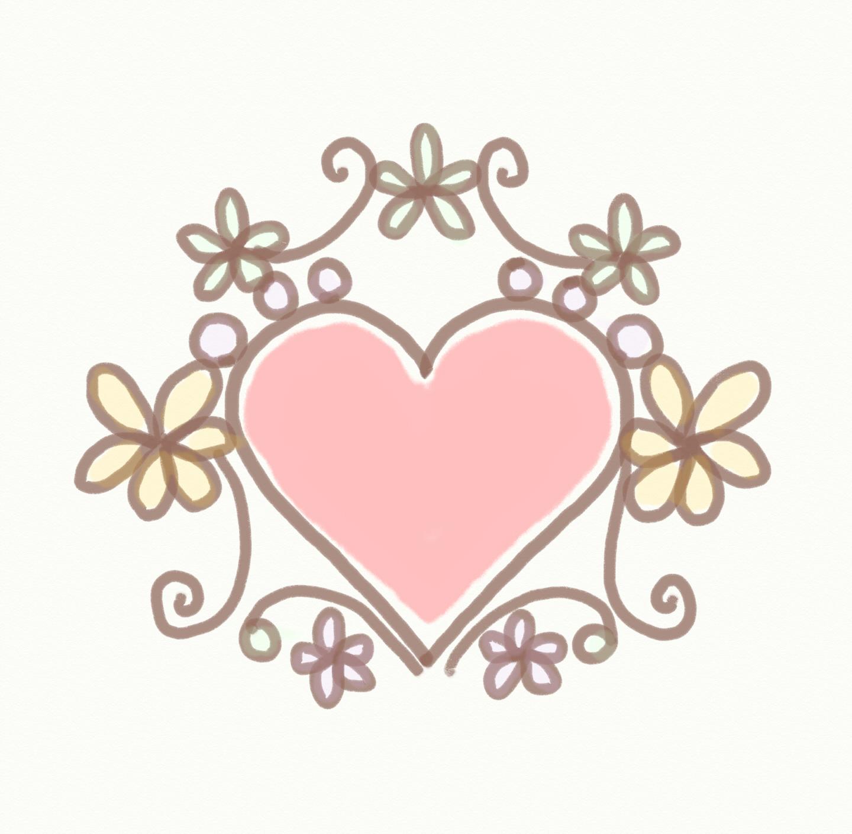 手描きイラストフレーム ハートと花 : ハートの素材屋