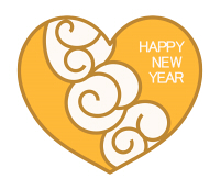happynewyearの文字が入った黄色のハートマーク素材