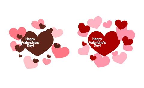 Happy Valentine's Day! の白抜き文字が入ったハート素材赤と茶色