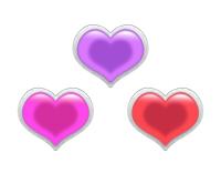 200立体的な装飾銀色枠のハート赤ピンク紫