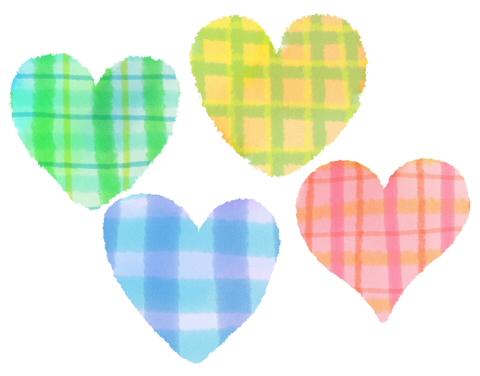 手描きチェック模様の歪なハートマーク ピンクと黄色、緑、青