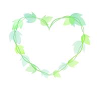 明るい緑色の水彩風葉っぱイラストハートフレーム