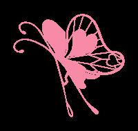 透過ピンクの蝶イラスト