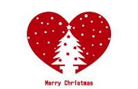 クリスマスツリーのシルエットイラスト赤いハートに白抜き