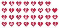 サムネイル手描きのアルファベット赤いハート