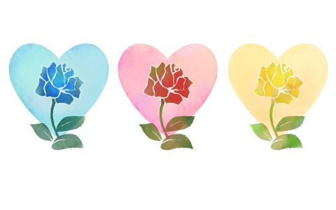 バラのイラストハート手描き水彩風フリー素材青とピンク、黄色