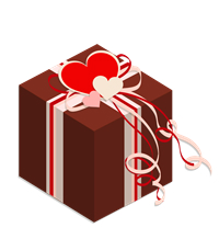 プレゼント箱イラスト素材チョコ色02