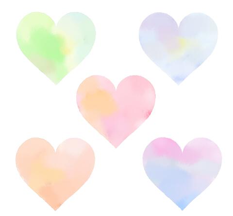 水彩風のハートマーク透過フリー素材 グリーン~ブルー、ピンクなどの透け感がある淡い色合い
