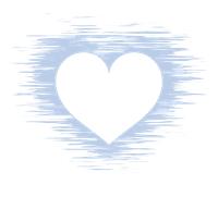 白抜きハートマークかすれた青色