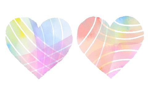 水彩風ハートの無料イラスト素材水色やピンクなど淡い色合いが重なっている内側には白い線模様