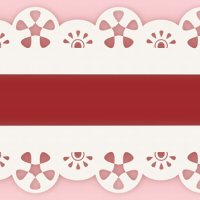 細め赤リボン白レース縁取りのライン素材