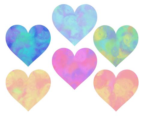 モヤモヤ柄ハートマークのフリー素材青と水色、グリーンやオレンジ、ピンクなど濃いめの混色
