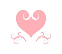 ピンクのハートと蔓模様の装飾