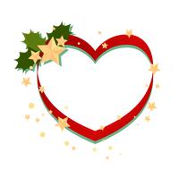 クリスマスフレーム緑の柊と星、赤いハート枠