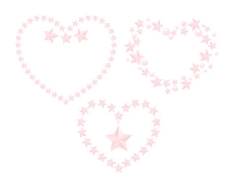フリー素材 ピンク色の星模様ハート