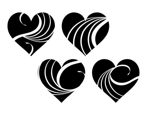 黒いハートマークに波模様が白抜きされている素材