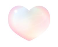 2淡い虹色のシャボン玉風ハートイラスト