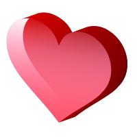 透明感のある立体的な赤Heart