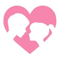 男女の横顔シルエット白抜きイラスト素材ピンク