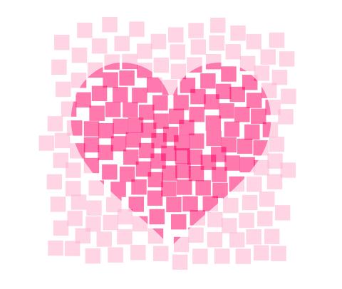 ランダムな四角いドット上に、濃淡でハートが浮かび上がるイメージピンク色透過pngのフリーイラスト素材
