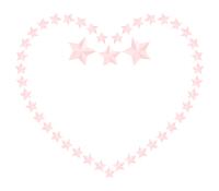 ピンク星ハートフレームイラスト素材