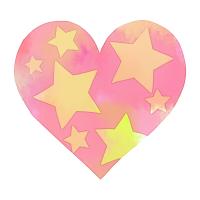 水彩星模様ハートピンク