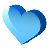 透明感のある立体Heart水色