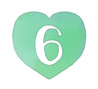 手描き数字6緑色のハート
