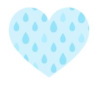 雨粒模様ハート水色小粒