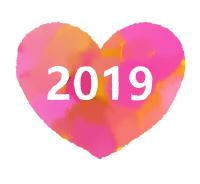 2019ハート素材水彩風濃いピンク