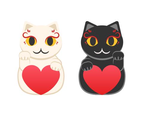 白と黒の招き猫が赤いハートを持っているフリーイラスト素材