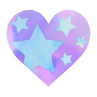 水彩星模様ハート紫と水色