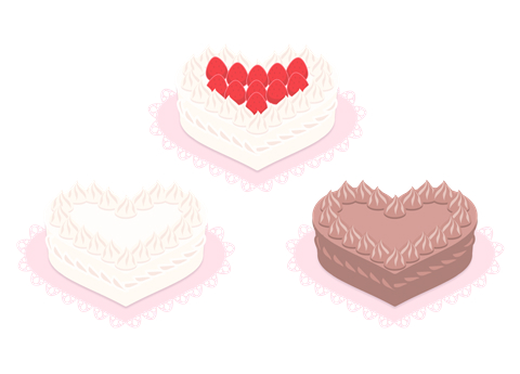 ハート型ケーキのフリーイラスト素材 イチゴ載せと生クリーム、チョコレートの3種類