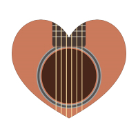 ギターイラストのハートマーク