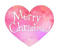 クリスマス手書き文字水彩風ハートピンク