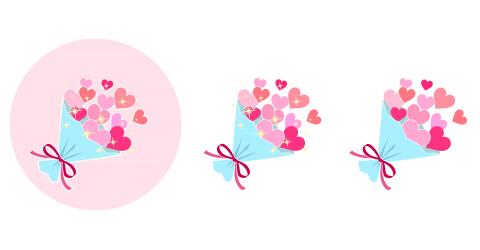 ハートの花束 ピンク系