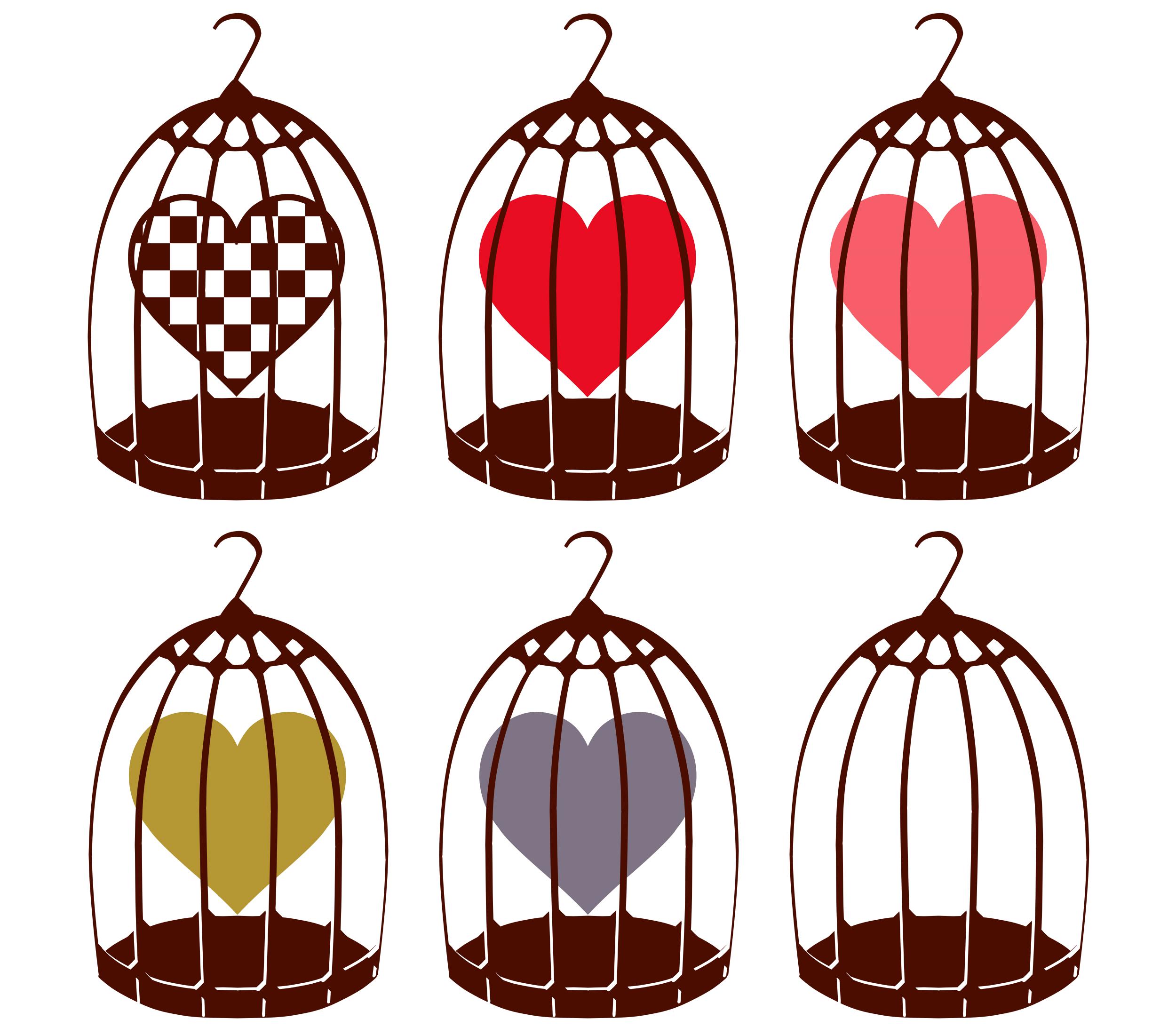 フリー素材 鳥かごとハートのイラスト : ハートの素材屋