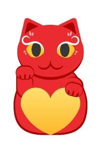 右手をあげている赤い招き猫のイラスト素材