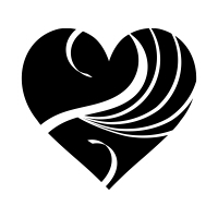 白い波模様の黒ハート01