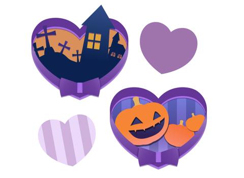 フリー素材ハロウィンイラスト紫のリボンとおはかとかぼちゃ