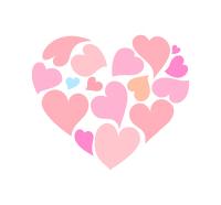ピンクの小さいハートが集ったハート