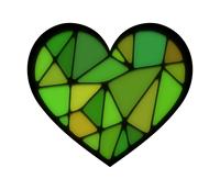 ステンドグラス風ハート緑