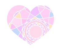 カラフル分割ハート素材ピンク