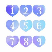 青いハートに白抜き数字