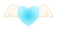 翼が生えたハートブルー