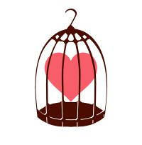 鳥かごとハートピンク