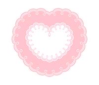 ピンク二重枠の装飾ハートフレーム