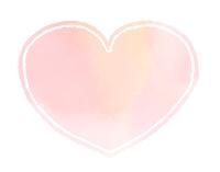 丸みのあるハートマーク水彩風桃色